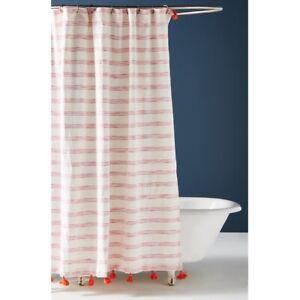 ANTHROPOLOGIE Rio Shower Curtain Stripe Orange Tassel Pink White Stripe SOLD OUT