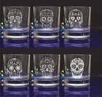 Personalised SUGAR SKULL engraved whiskey glass for Birthday, Christmas gift#143