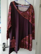 Joe Browns Burgundy / Rust Abstact Floral Detail Long Sleeve Tunic Top Size 22