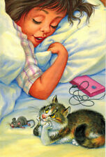 GIRL IN THE BED    MOUSE CAT BESIDE HER   Modern Russian postcard