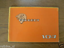 PEUGEOT 104 19??   HANDLEIDING OWNERS MANUAL,INSTRUCTION BOOK