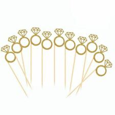1X(50 Pack Cupcake Toppers Gold Glitter Mini Diamond Ring Cakes Toppers for T8J3