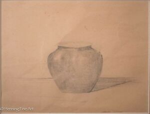 Charles Williams Original Pencil Drawing / Sketch Still Life of Rounded Vase 2/2