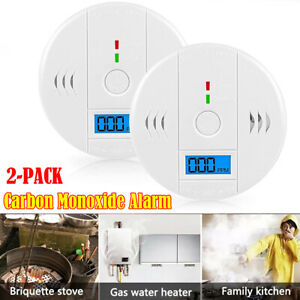 2 × LCD Combination CO Carbon Monoxide Gas Detector Alarm Security Tester Alert
