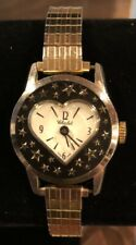 ANTIQUE Pin-up Retro WIND WATCH SIGNED CHALET SWISS MADE HEART STARS CREST WORKS