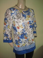 Monsoon ~ Blue White Multi Floral Print Scoop Neck Silky 3/4 Sleeve Top Size 10