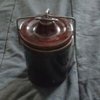 Small Stoneware crock & lid with metal closure canister