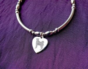 HUSKY HEART CHARM 4MM STRETCH BRACELET 925 STERLING SILVER. FREE ENGRAVING