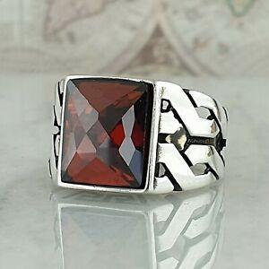 Solid 925 Sterling Silver Mens Ring Red Garnet Gemstone Handmade Turkish Size S