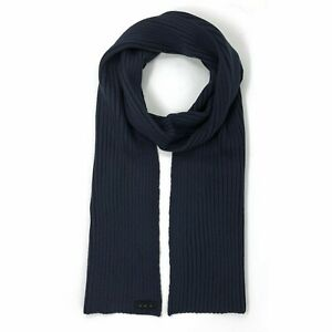 John Varvatos Star USA Men's Plated Ribbed Fashion Scarf Wool Blend Navy