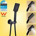 WELS 3 Mode Square Handheld Shower Head Hose Swivel Adjustable Wall Holder Black
