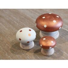 Toadstool Mushroom Wooden Ornaments Set of 3 Copper & Cream