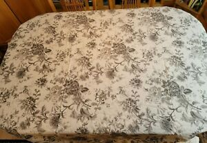 Williams Sonoma Grey Toile Floral Blossom Tablecloth Botanical Cotton 66x102