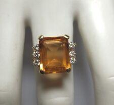 Antiguo Oferta 14 Quilates Oro Amarillo Original Citrino & Diamantes Anillo