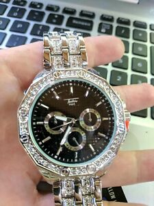 Men Iced Watch Bling Rapper Simulated Diamond Metal Band Silver Hip Luxury Black