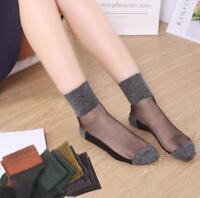 Summer Women Ladies Sheer Silky Glitter Transparent Nylon Stockings Ankle Socks