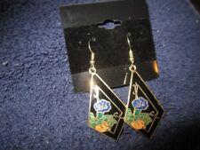 "Vintage Genuine Colisonne Blue & Yellow Orchid Dangle/Hook Earrings 2"""