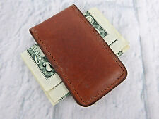 Genuine Brown Cowhide Leather Money Clip with Strong Secure Magnet Made in USA