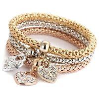 Gold Silver Rose Gold Rhinestone Heart Charm Bracelets Bangle Women Jewelry D1Z6
