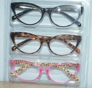 BETSEY JOHNSON 3 Pair Reading Glasses Black Tortoise Pink Cat Eye Readers
