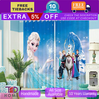 Frozen Elsa Snowman Disney Blockout Kid Girl Bedroom Curtain Drape Blue Blackout