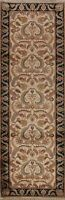 Floral Traditional Agra Oriental Runner Rug Hand-knotted Ivory Wool Carpet 3x10