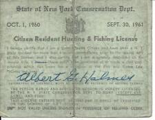 1960 - 1961 New York Citizen Resident Hunting & Fishing License
