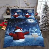 Festive Christmas Snowman Sparkle Duvet Cover and Pillowcase Bedding set