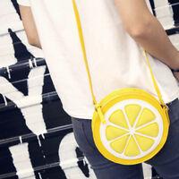 Circular Lemon Shoulder Bags Zipper Crossbody Waterproof Handbag for Cute Girls