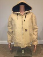 Carhartt Jacket lined Canvas Coat size Small Unisex Brown Beige All Weather