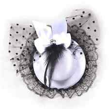 Women Bow Hair Clip Lace Feather Fascinator Fancy Halloween Party Mini Top Hat