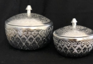 Thai Engraved Aluminium Light Weight Rice Serving Bowl with Lids Home & Decor