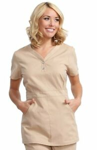 Koi Classic Women Justine Snap Button Solid Scrub Top Sizes XS-2XLRuby/Camel/Bl