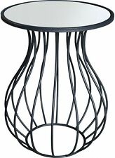 Mirror Top Black Metal Side Table | Round Mirrored Coffee/Lamp/Bedside