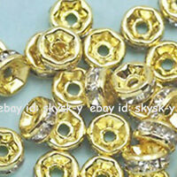 Wholesale 100pc Gold Plated Crystal Rhinestone Rondelle Spacer Beads Size 4-10mm