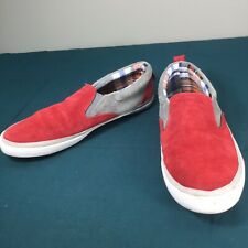 Used Energie Red Gray Suede Mens Casual Slip On Sneakers Shoes sz US 9