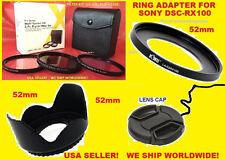 ADAPTER+FILTER KIT+HOOD+LENS CAP 52mm TO CAMERA SONY DSC-RX100M2 RX100M3 RX100M4
