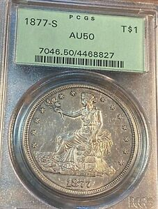 1877-S Trade Dollar PCGS AU50 OGH Great Luster & Appeal Best Price on Ebay CHN