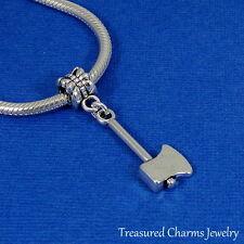 Silver AXE Dangle Bead CHARM Lumberjack Wood Chopping fits EUROPEAN Bracelet