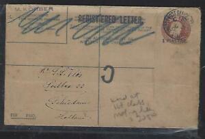 BRITISH LEVANT COVER(P0612B)1913 KGV 1PI REVALUE RLE SENT AS ORDINARY TO HOLLAND