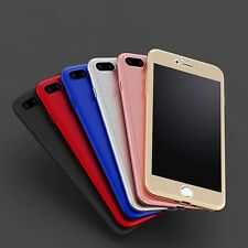 For iPhone 8 Plus 7 6 360 Full Hybrid Hard Case Cover For 5 Tempered Glass Apple
