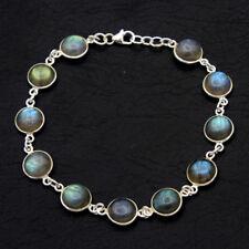 Round Cab Blue Labradorite Gemstone 925 Sterling Silver Jewelry Solid Bracelet