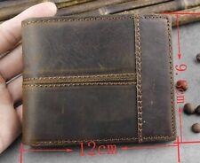 Vintage Natural Strong Genuine Leather Stitching Men's Bifold Credit Card Wallet