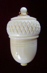 Vintage ~ Bovine Bone ~ Acorn Shaped Holder with Thimble  Ex.