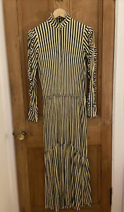 Zara SS18 Striped Long Dress Ruffled Zip Front High Neck Black / Cream S