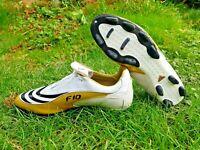RARE ADIDAS F10.8 TRX FOOTBALL BOOTS SG WHITE/GOLD Size UK 9