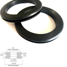 """Set of 2 Very Large Rubber Grommets 3-1/2"""" Inside Diameter- Fits 4"""" Panel Holes"""