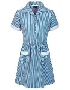 Blue Max Banner School Uniform Girls Kinsale Button Front Corded Stripe Dress