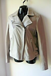 WHITE LABEL WHITE COMPANY LIGHT GREY LEATHER JACKET SIZE 12 £350 IMMACULATE