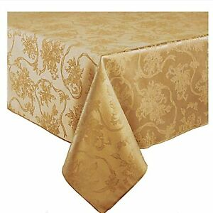 """NIP Christmas Ribbons Damask Fabric Tablecloth 52""""x70"""" in Gold"""